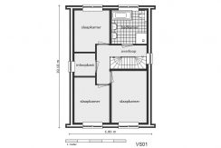 06 Lijnderdijk 197 woning Plattegrond 1e verdieping VS01