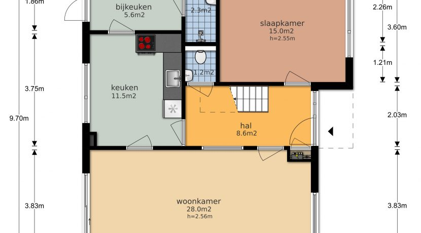 For Rent! A detached family house with free view @Amsterdam Nieuw-West Osdorperweg 582 Foto 03 Plattegrond parterre 01a